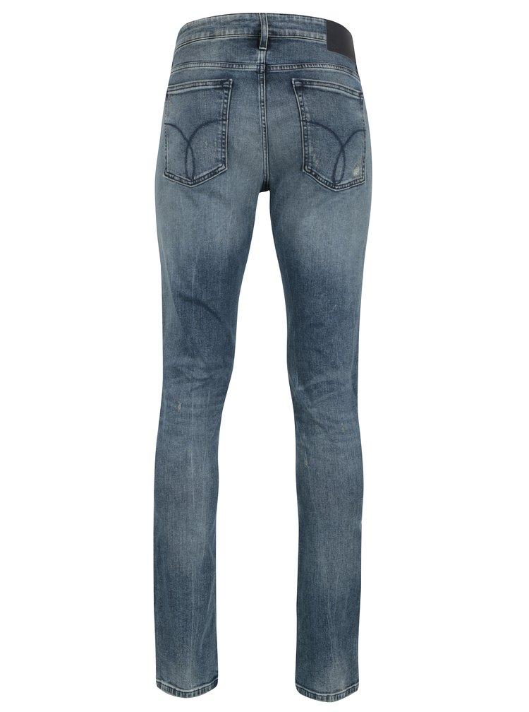 Modré pánské slim džíny s potrhaným efektem Calvin Klein Jeans
