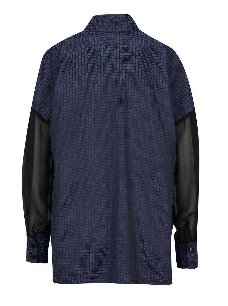 Černá vzorovaná košile s průsvitnými rukávy La femme MiMi