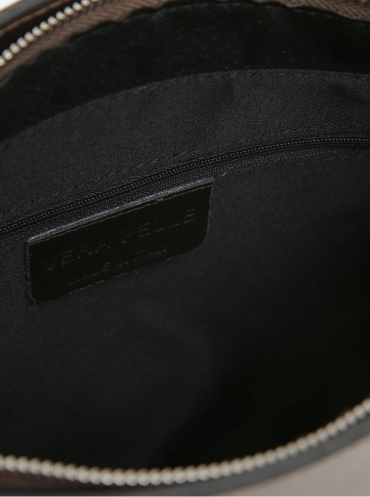 Metalická dámská kožená crossbody kabelka v bronzové barvě KARA