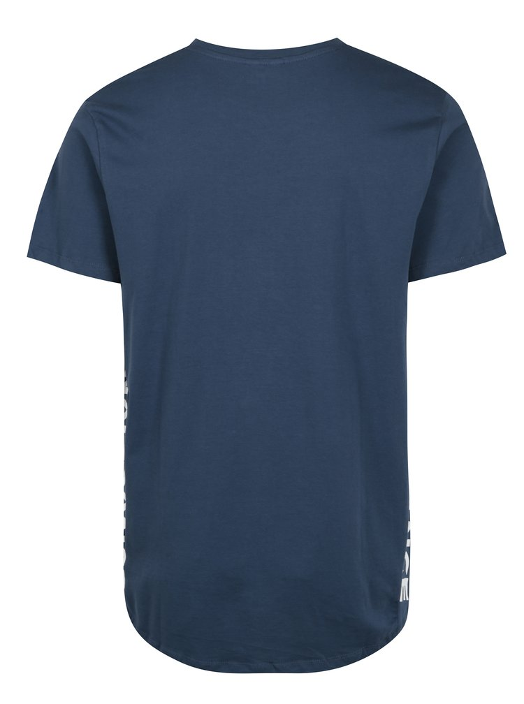 Modré tričko s potlačou a predĺženým zadným dielom Jack & Jones Hake