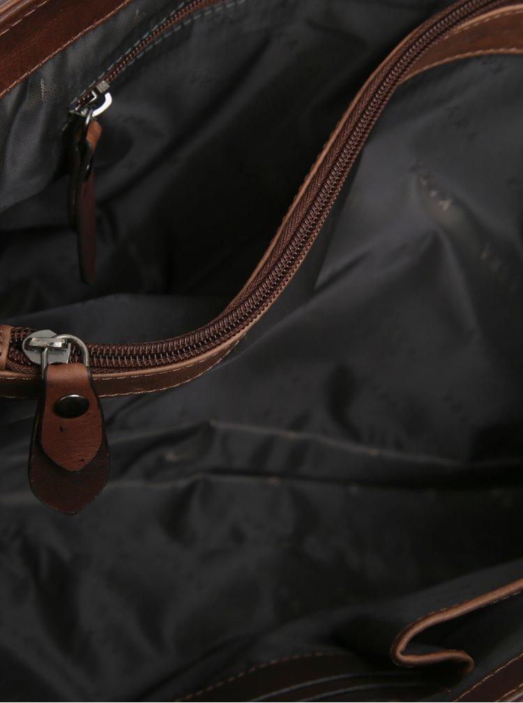 Hnědá pánská kožená taška s odnímatelným popruhem KARA