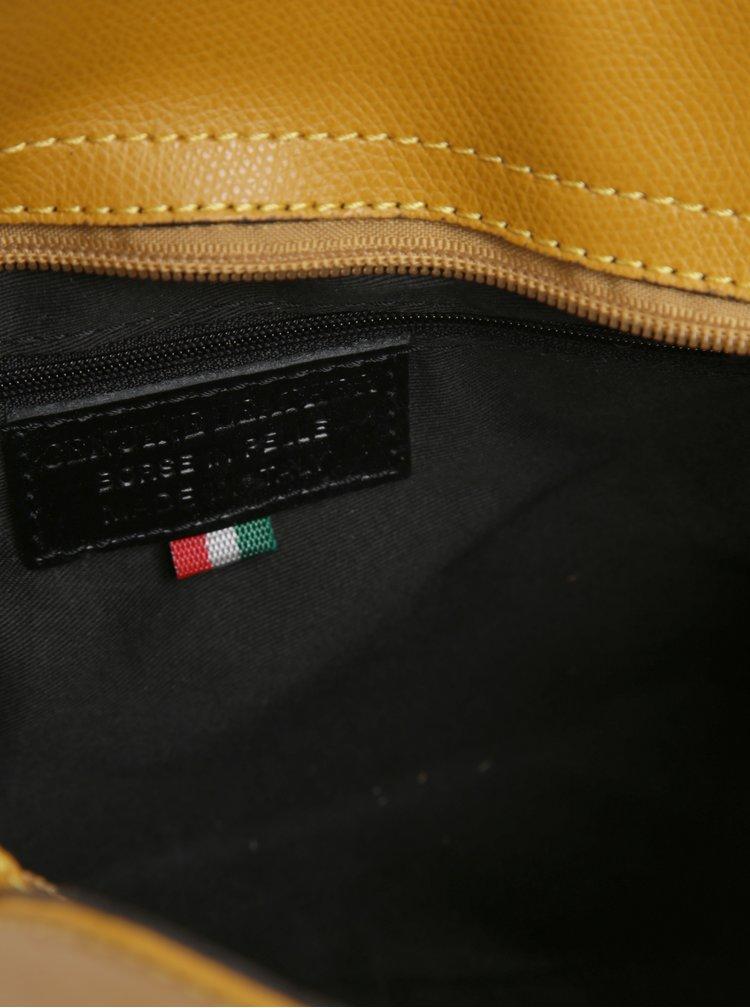 Hořčicová dámská kožená crossbody kabelka KARA