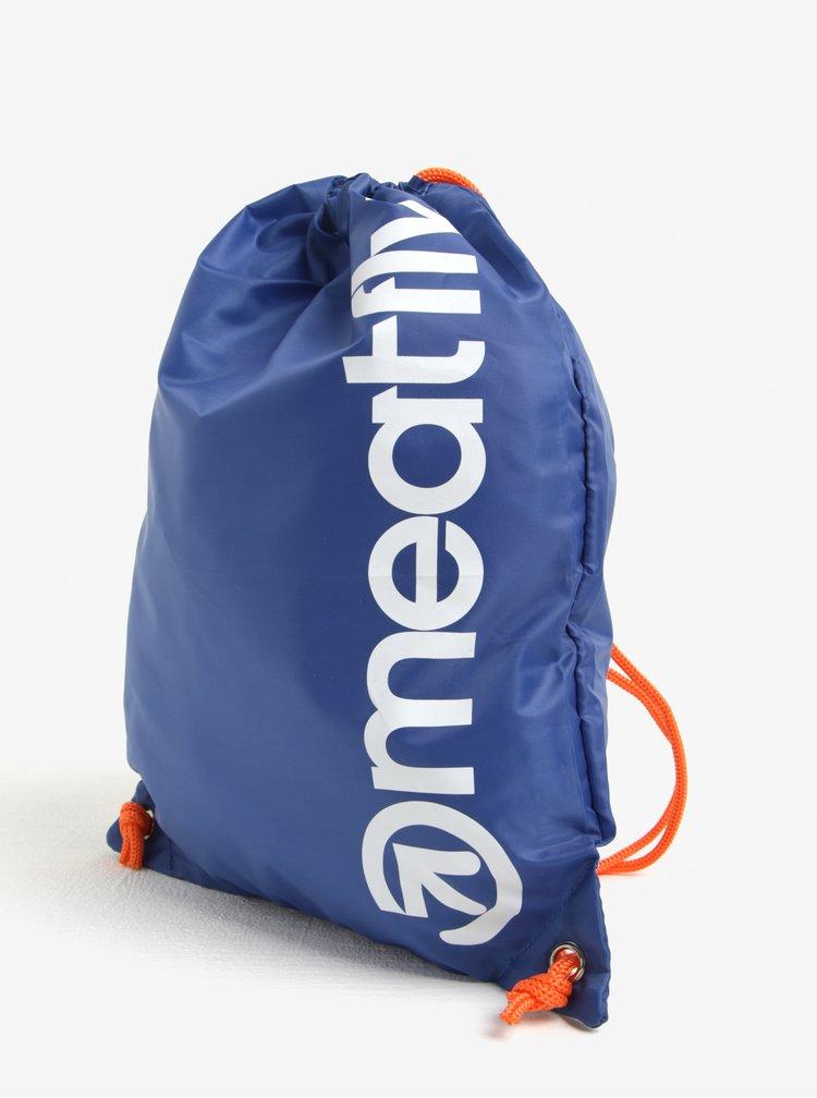 Rucsac albastru inchis&alb cu print logo Meatfly Buck