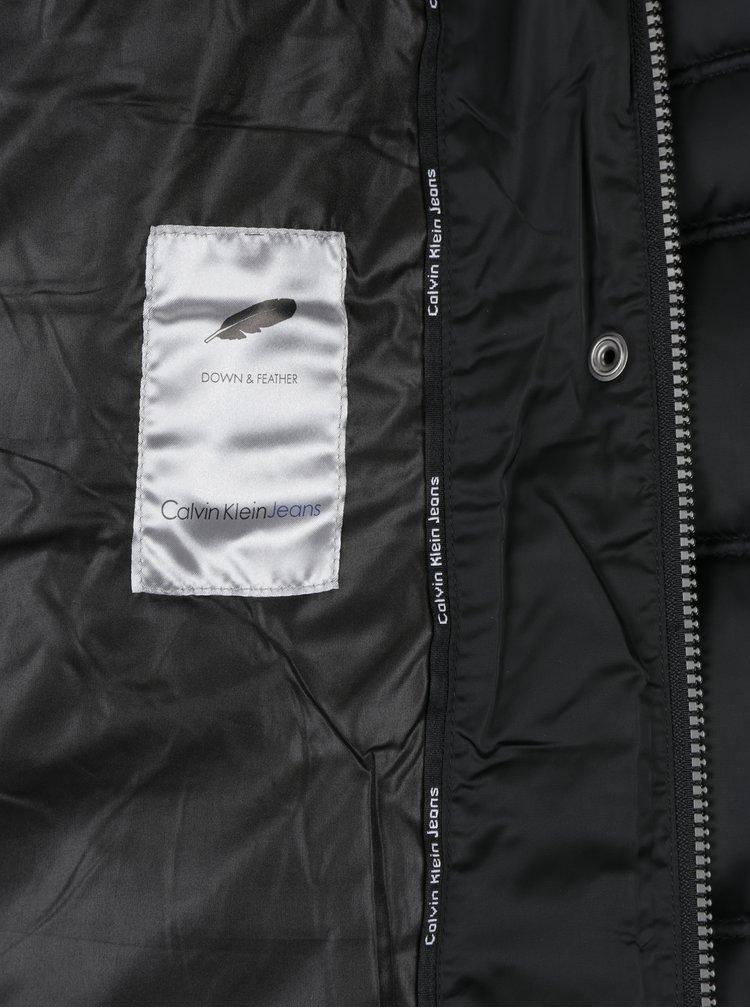 Černý dámský zimní prošívaný péřový kabát Calvin Klein Jeans Opra