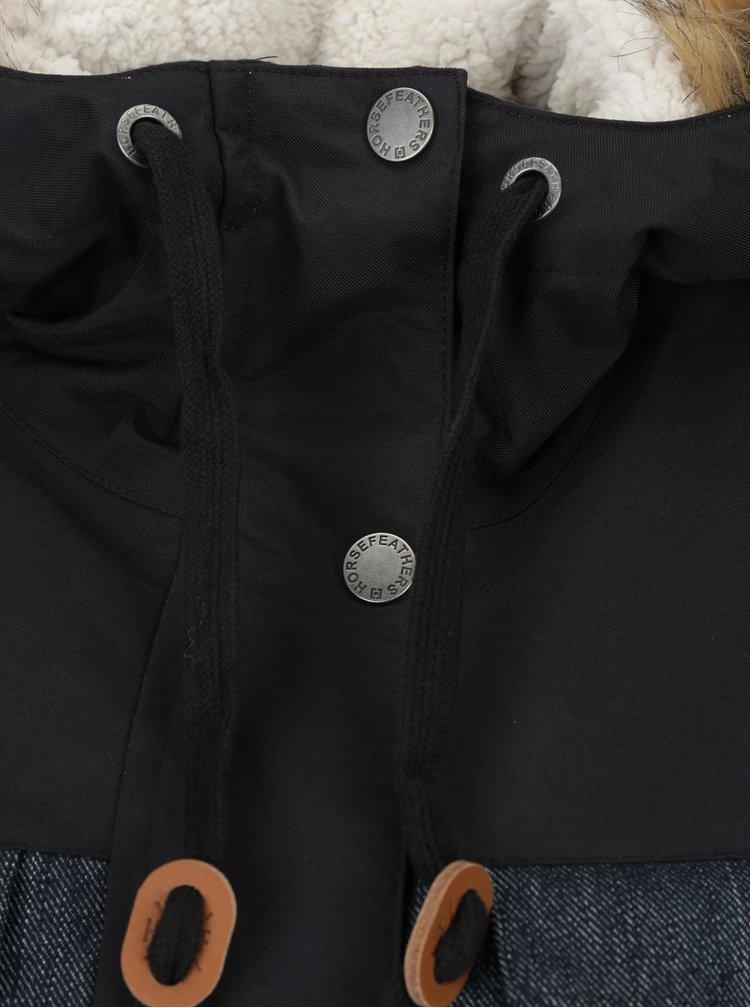 Černo-modrá dámská zimní parka s umělým kožíškem Horsefeathers Perrie