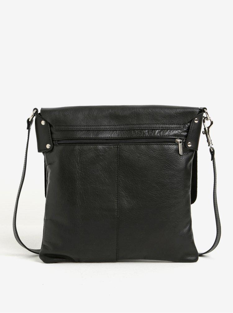 Černá dámská kožená crossbody kabelka s klopou KARA
