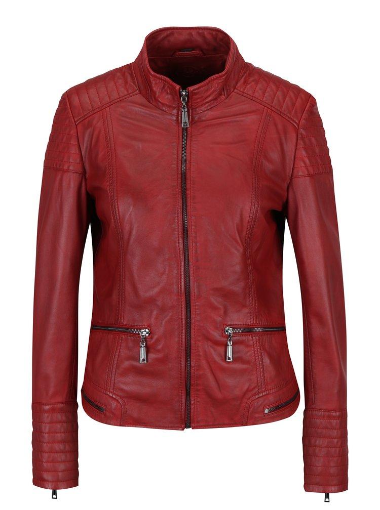Červená dámská kožená bunda s prošívanými detaily KARA Pavlina