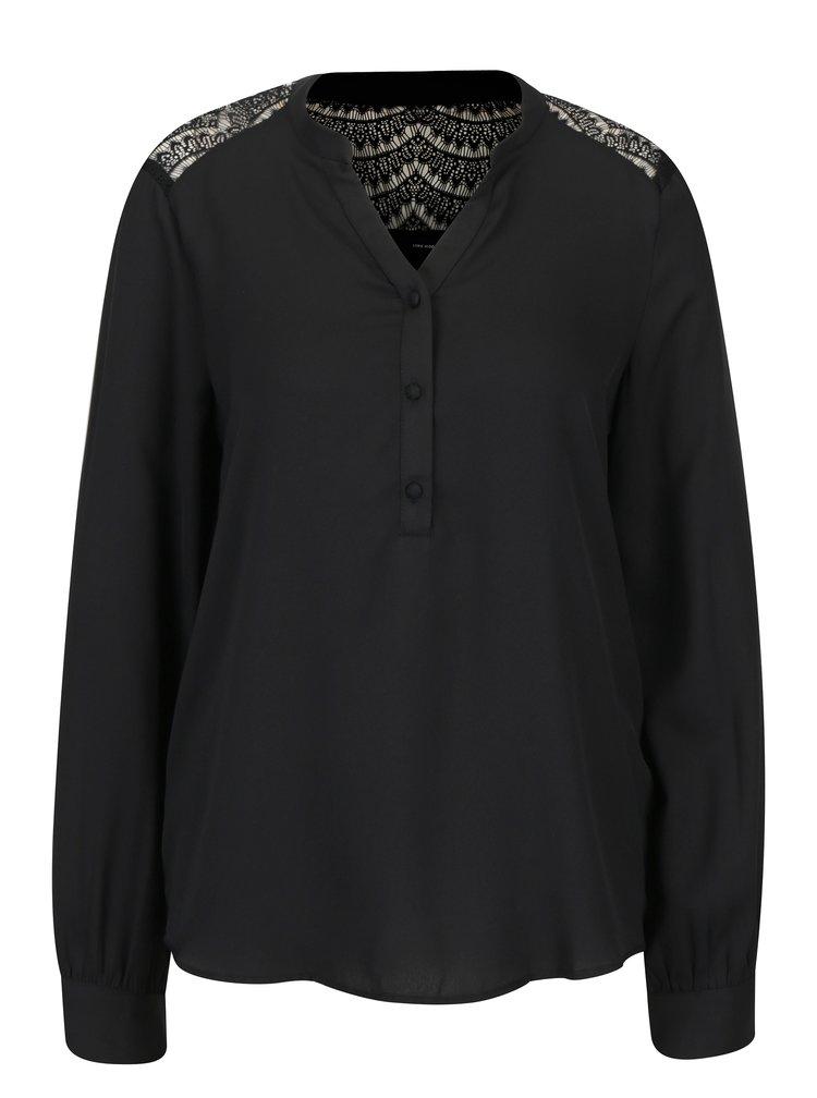 Černá halenka s krajkovými detaily VERO MODA Sharpa