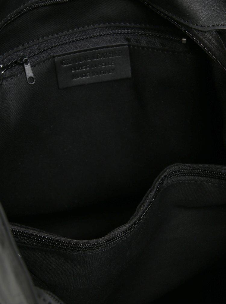Geanta hobo neagra din piele naturala cu ciucure decorativ - KARA
