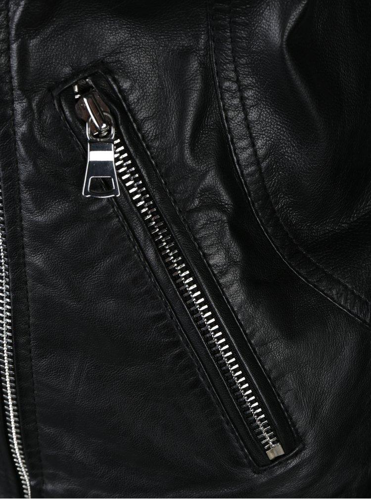 Jacheta biker neagra din piele naturala cu fermoar asimetric pentru femei -  KARA Arcone