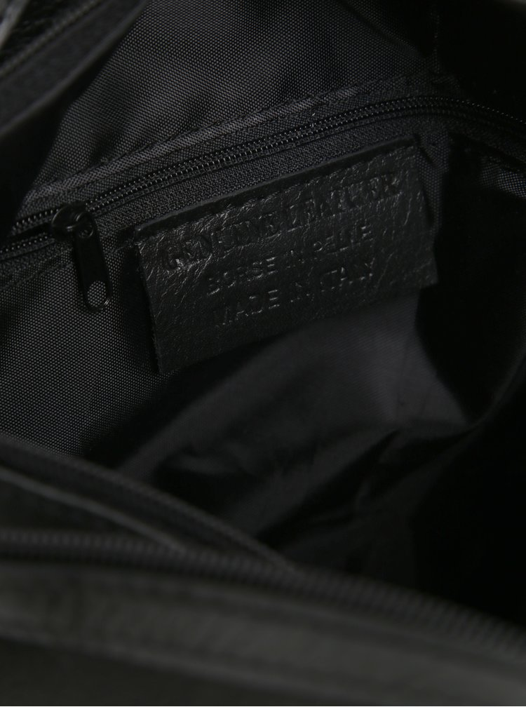 Rucsac negru tip geanta din piele naturala pentru femei - KARA