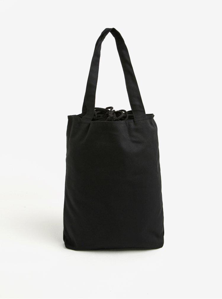 Černá plátěná taška s nášivkou retro babiček La femme MiMi Teta Věra no.5