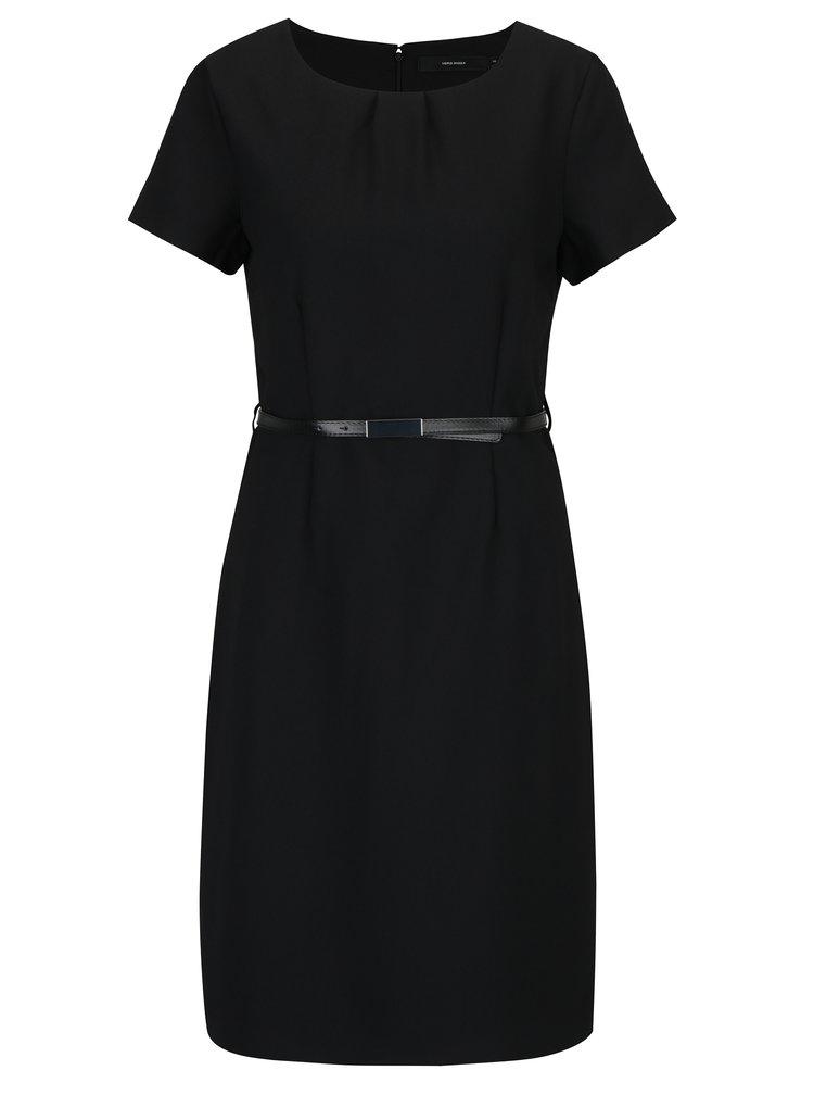 Černé šaty s krátkým rukávem a odnímatelným páskem VERO MODA Helen