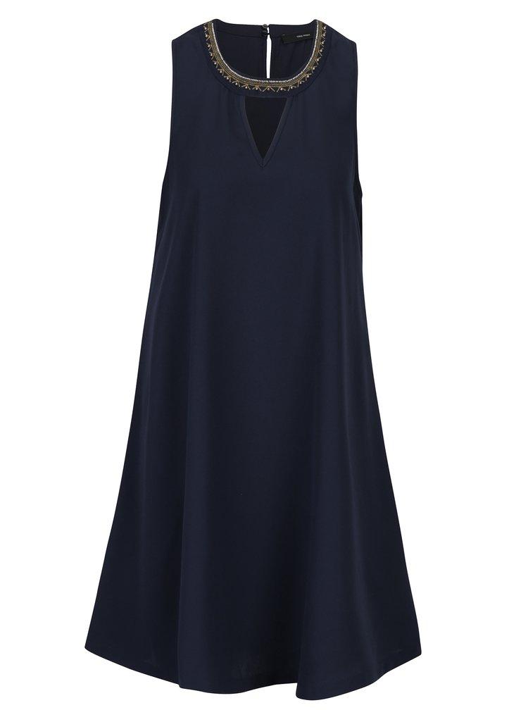 Tmavě modré šaty s korálkovou aplikací VERO MODA June Bead