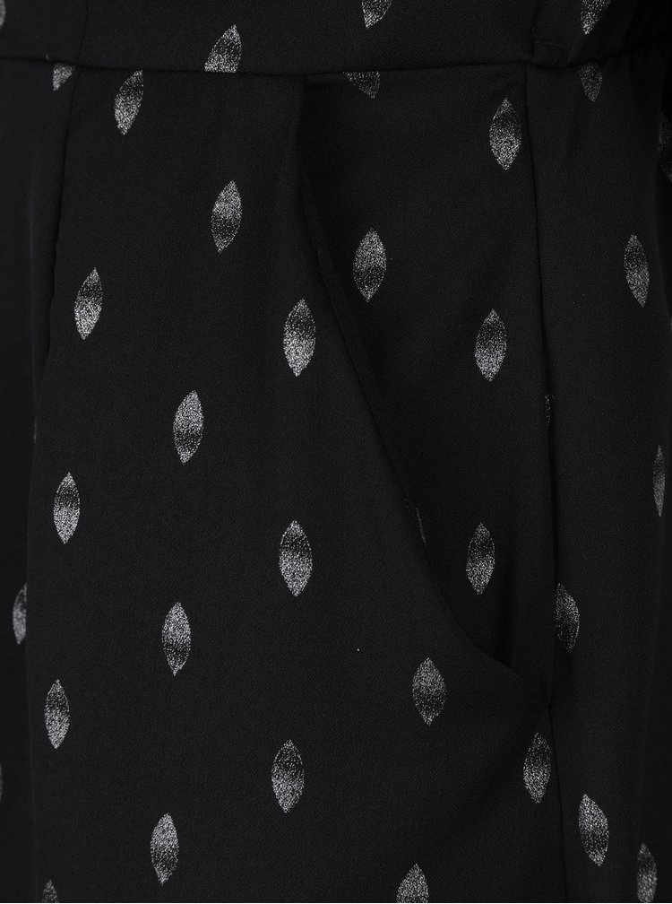 Černé vzorované šaty s dlouhým rukávem VERO MODA Folia