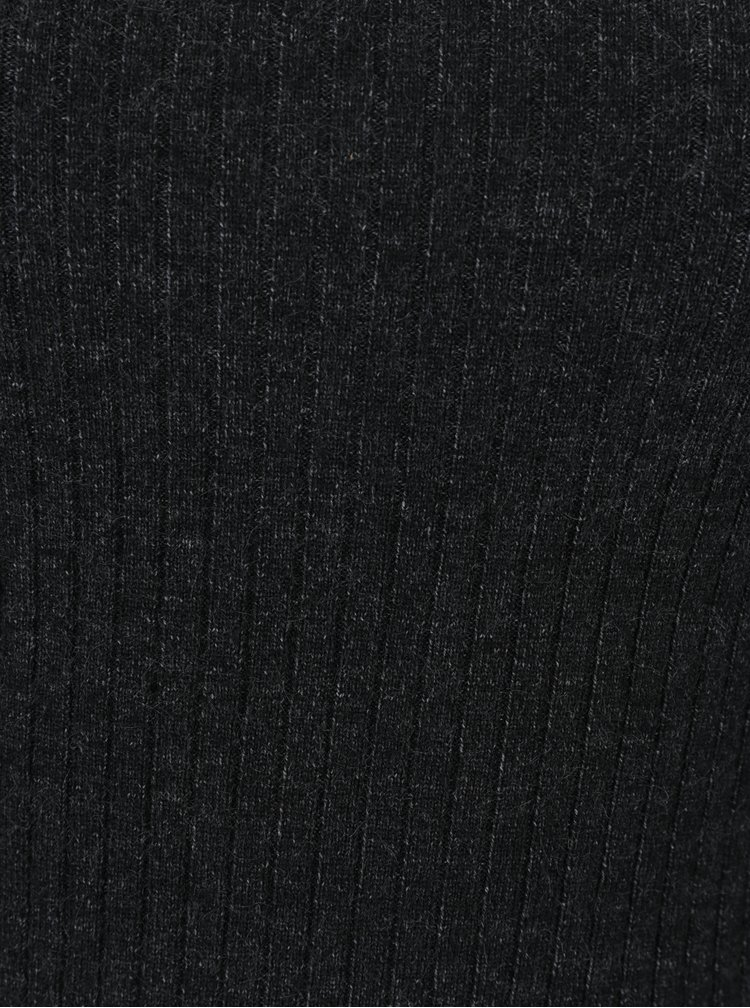 Tmavě šedý žebrovaný lehký svetr VERO MODA Hermosa