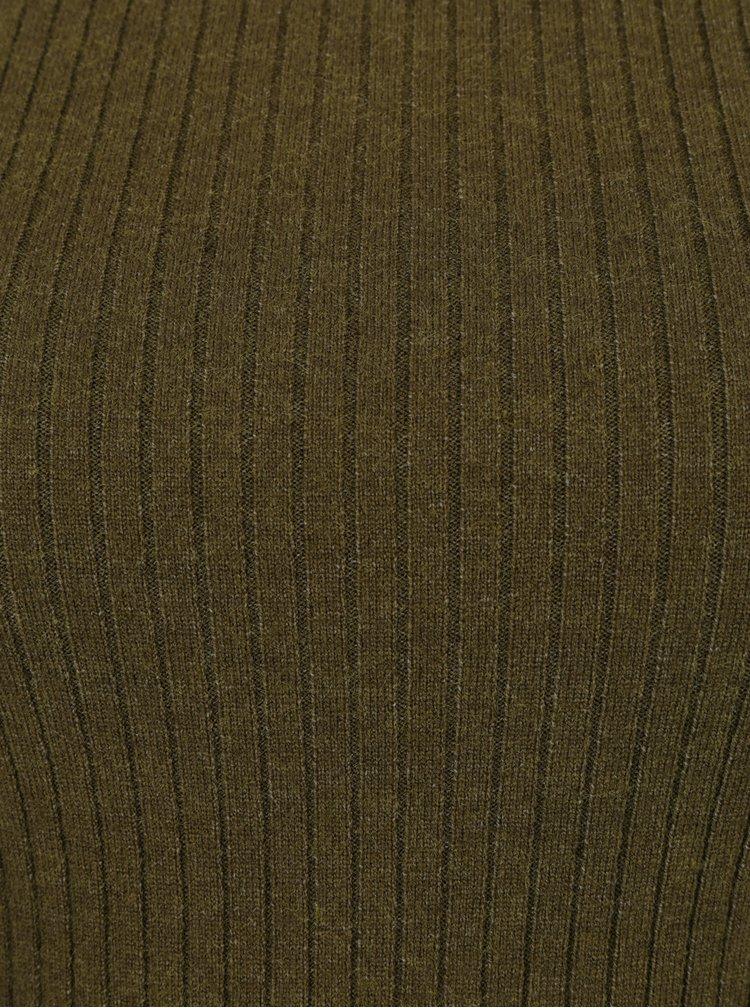 Tmavě zelený žebrovaný lehký svetr VERO MODA Hermosa