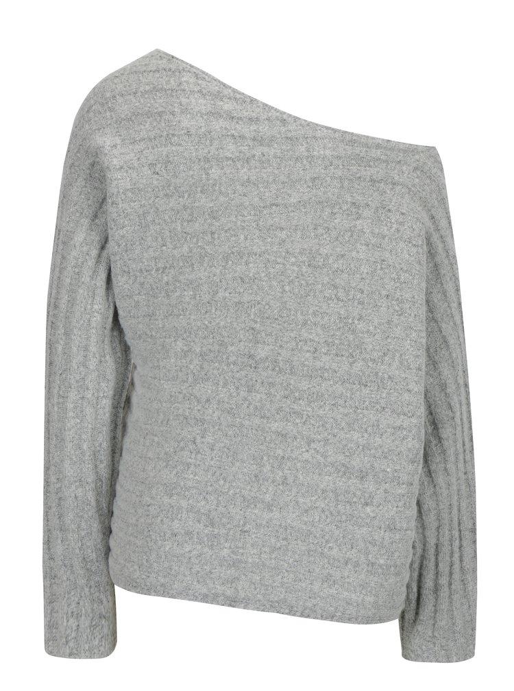 Světle šedý žebrovaný svetr VERO MODA Clearlake