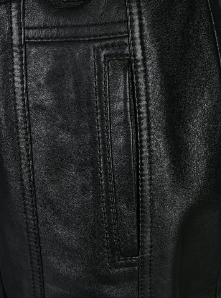 Pardesiu negru din piele naturala cu revere pentru femei - KARA Riana