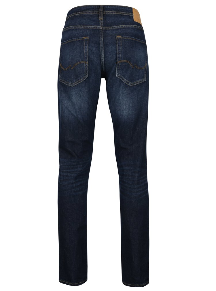 Tmavomodré slim fit rifle s vyšúchaným efektom Jack & Jones Tim
