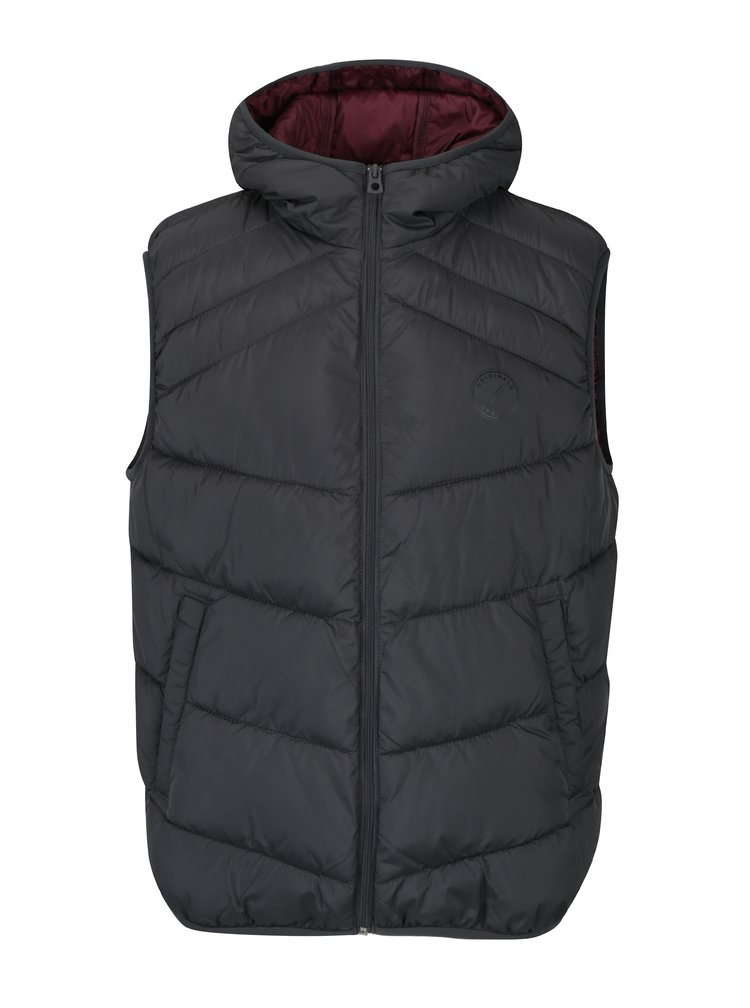 Tmavě šedá prošívaná vesta s kapucí Jack & Jones Landing