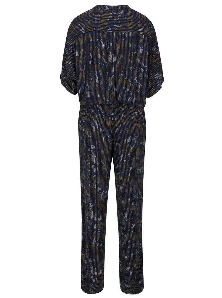Salopeta bleumarin cu print si cordon in talie - Garcia Jeans