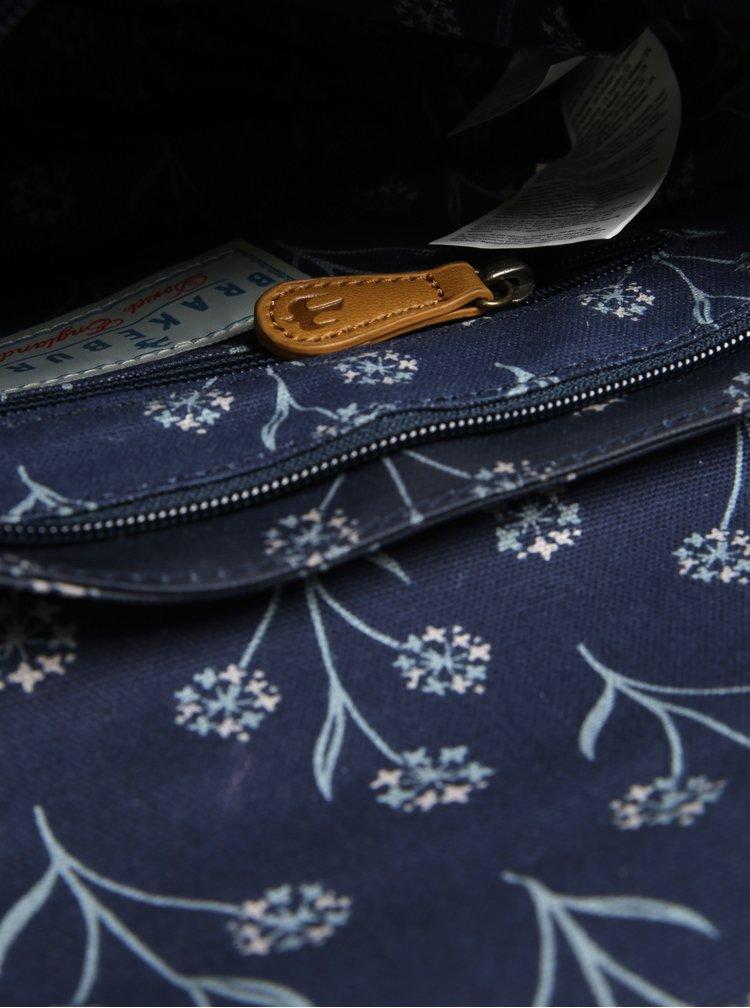 Geanta crossbody albastru inchis&crem cu model floral Brakeburn