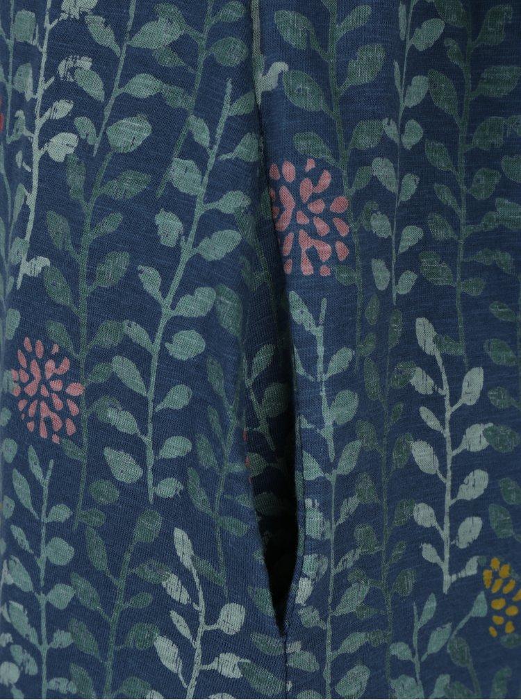Modré vzorované šaty s překládaným výstřihem Brakeburn