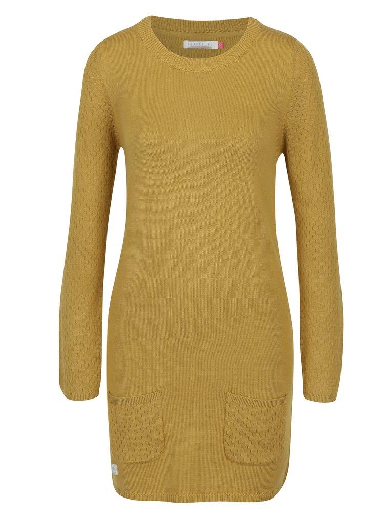 Hořčicové svetrové šaty s dlouhým rukávem Brakeburn