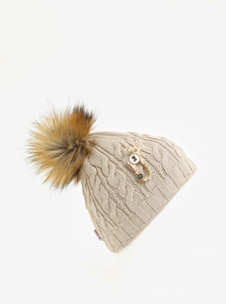 Caciula bej din lana merino si cristale Swarovski pentru femei - Kama DEERS