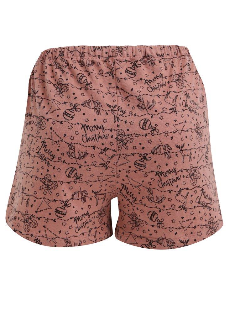 Ružové pyžamové kraťasy s vianočnou potlačou Pieces Cammi