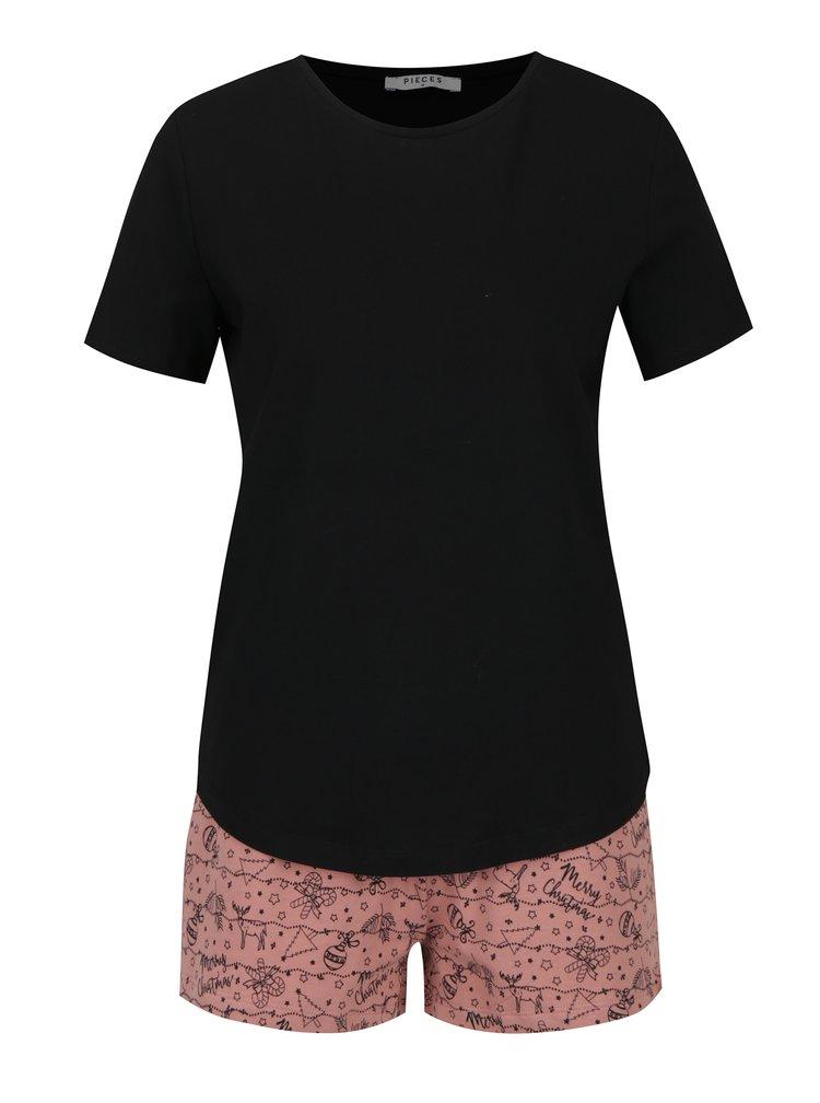 Růžovo-černé dvoudílné pyžamo s vánočním potiskem Pieces Cammi