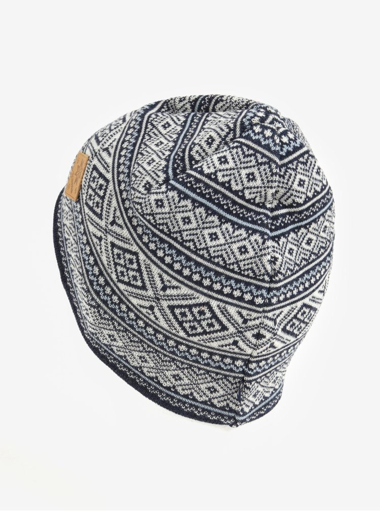 Caciula cu motiv norvegian bleumarin & crem din lana merino pentru barbati - Kama