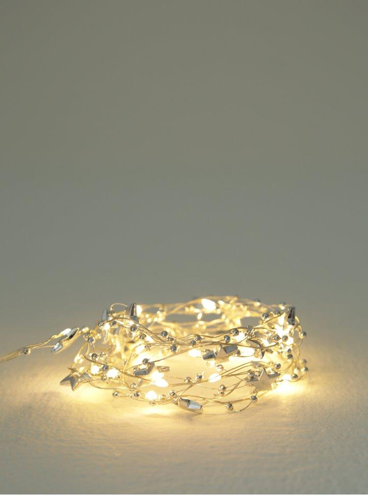 LED svítící řetěz s hvězdičkami ve stříbrné barvě Kaemingk