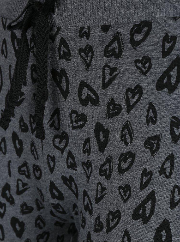 Tmavosivé pyžamo so srdiečkami Pieces Cailin