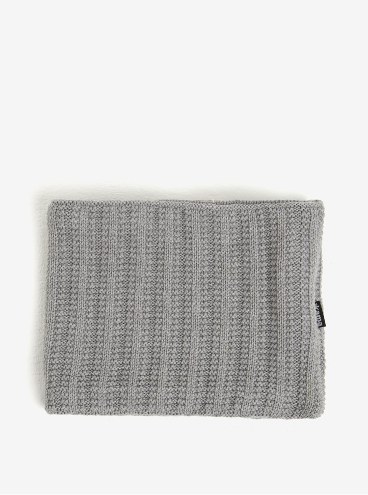 Set dámské zimní čepice a nákrčníku v šedé barvě s příměsí vlny Kama