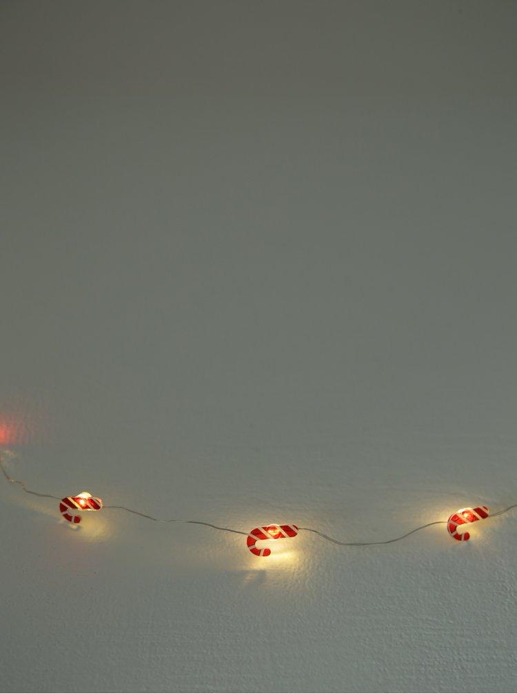 Bílo-červený LED světelný řetěz s motivem lízátek Kaemingk
