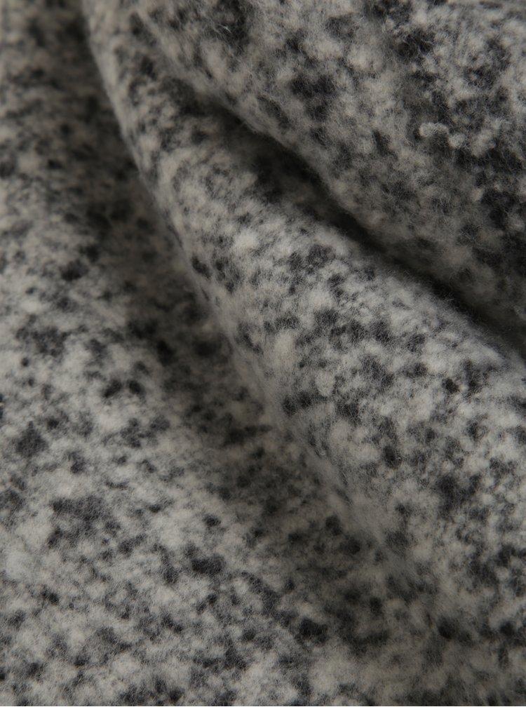 Černo-šedá žíhaná šála s třásněmi Pieces Jera