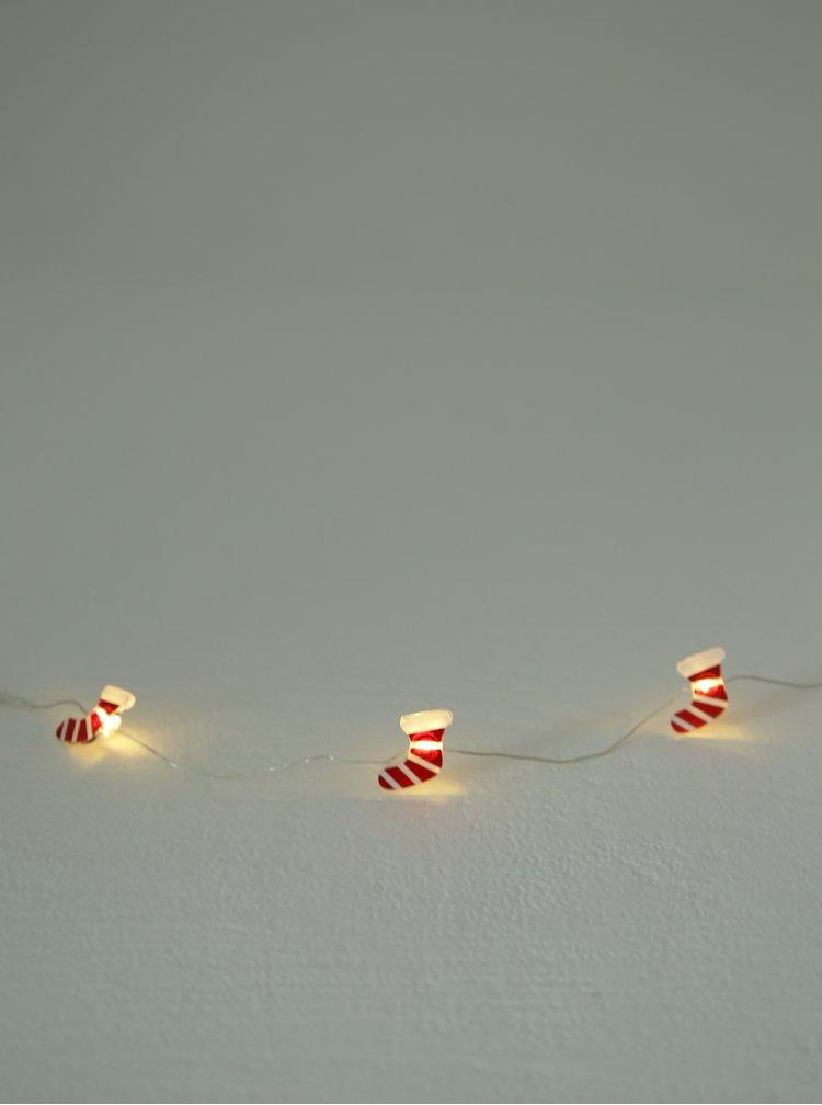 Bílo-červený LED světelný řetěz s motivem punčoch Kaemingk