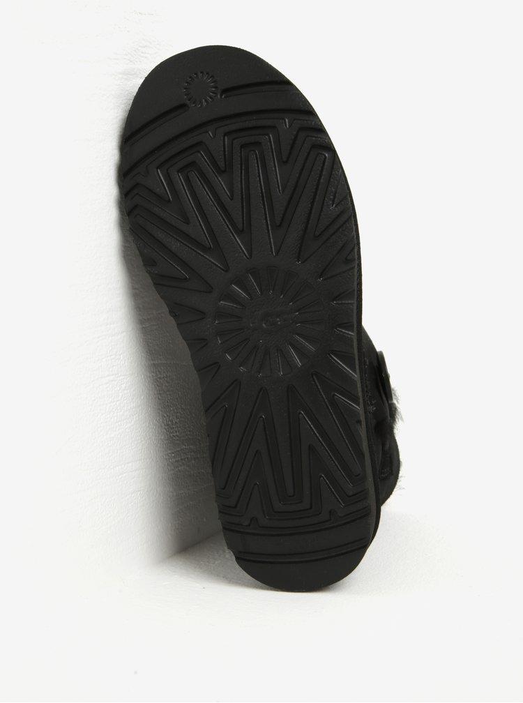 Cizme negre impermeabile din piele intoarsa cu nasture UGG Mini Bailey Button II