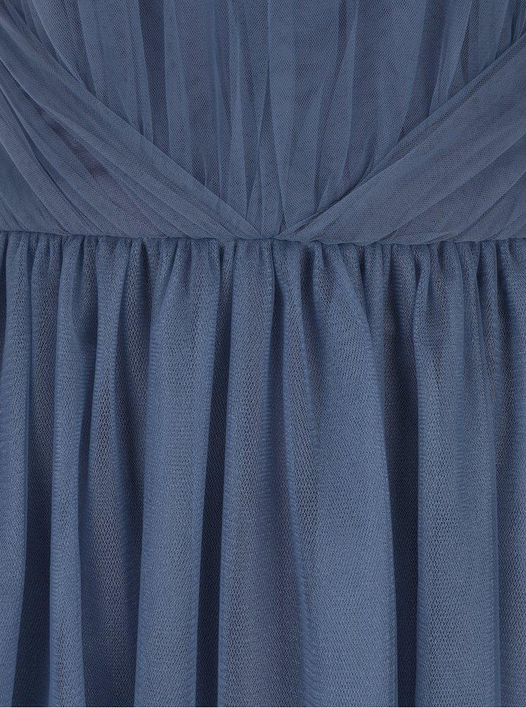 Modré maxišaty se zavazováním za krkem Chi Chi London Alessia