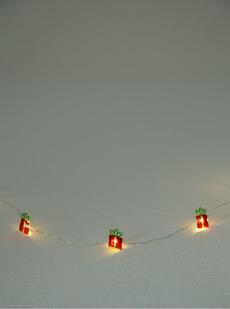 Zeleno-červený LED světelný řetěz s motivem dárků Kaemingk