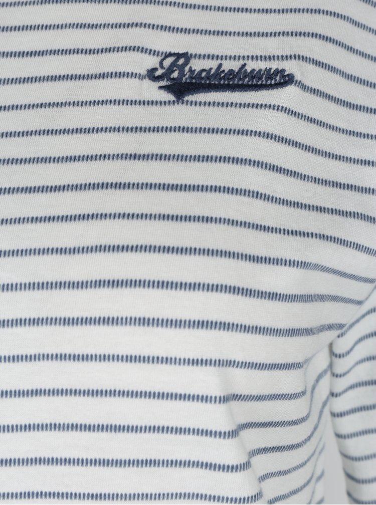 Krémové pruhované tričko s 3/4 rukávem Brakeburn
