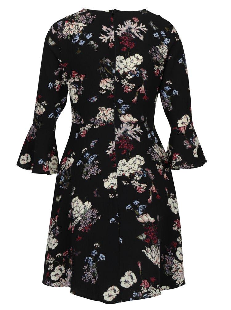 Černé květované šaty se zvonovými rukávy AX Paris