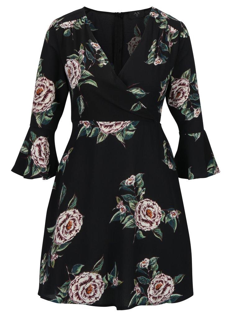 Černé květované šaty s překládaným dekoltem AX Paris