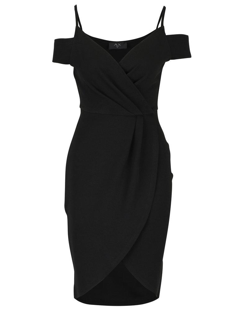 Černé pouzdrové překládané šaty s odhalenými rameny AX Paris