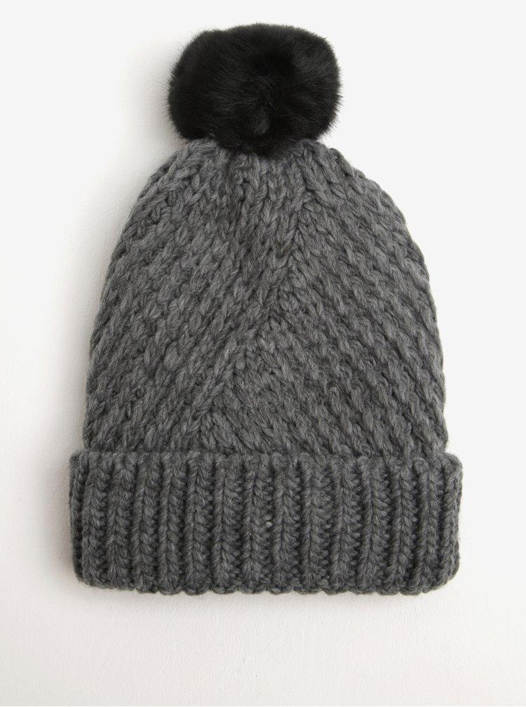 Caciula tricotata gri & negru cu pompon - Pieces Jokima