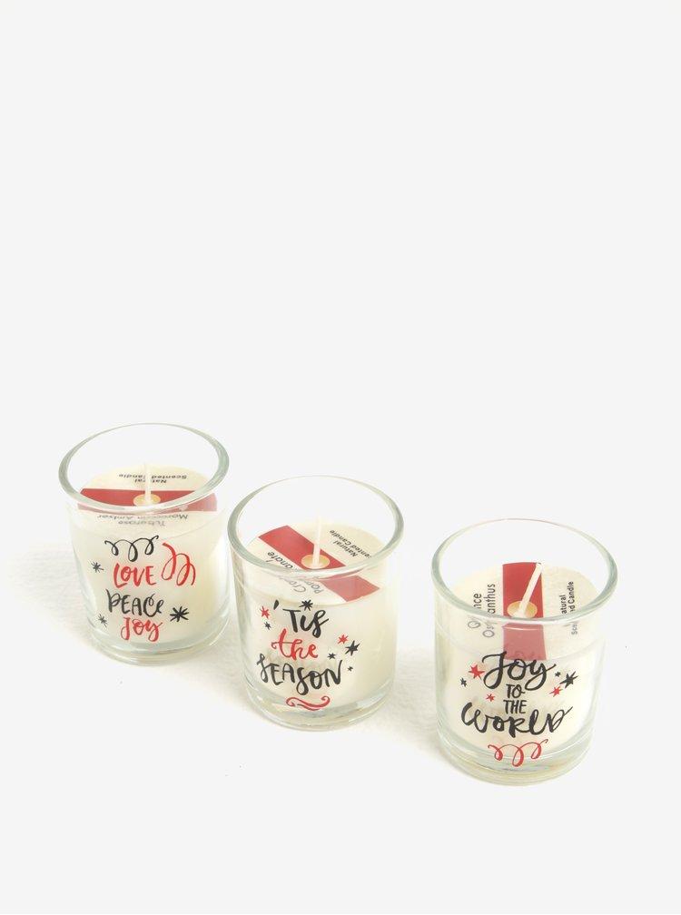 Set de 3 lumanari de sezon cu print in recipient din sticla - Kaemingk