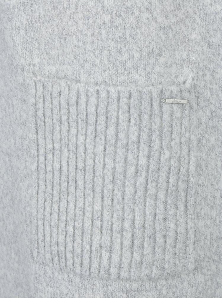 Rochie - pulover gri melanj cu buzunare - s.Oliver