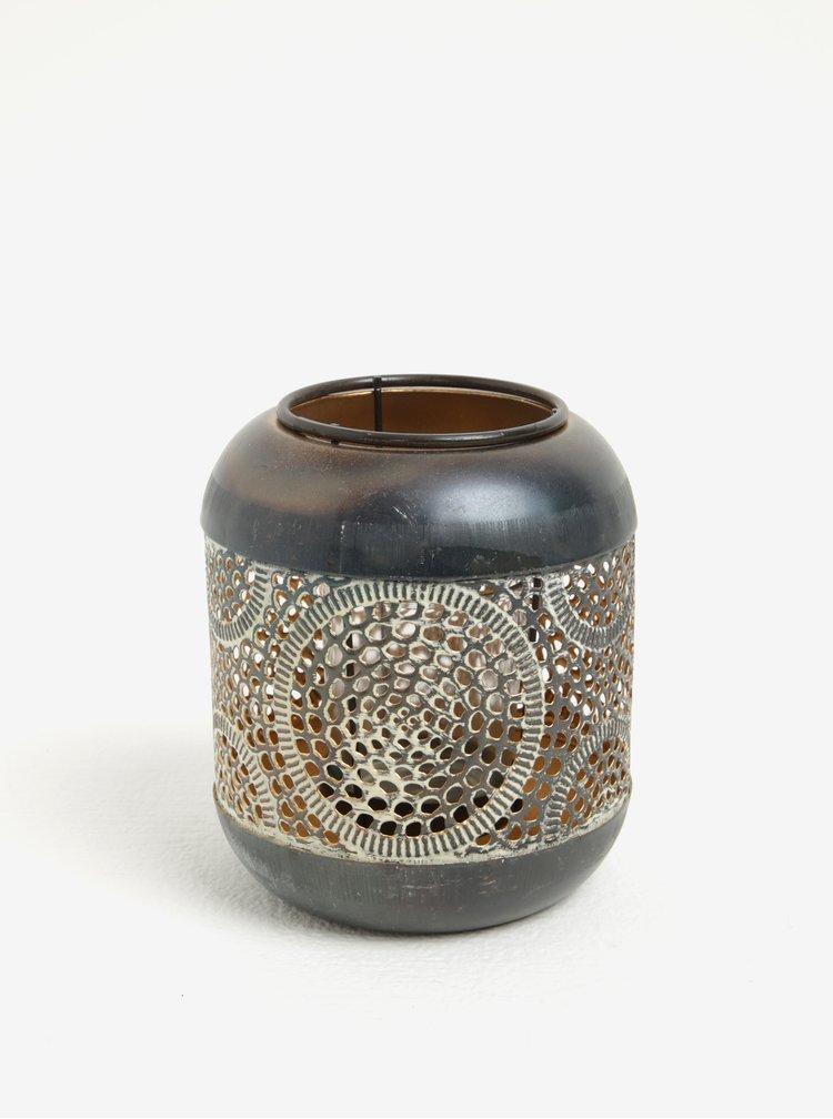 Kovový svícen v šedo-měděné barvě Kaemingk